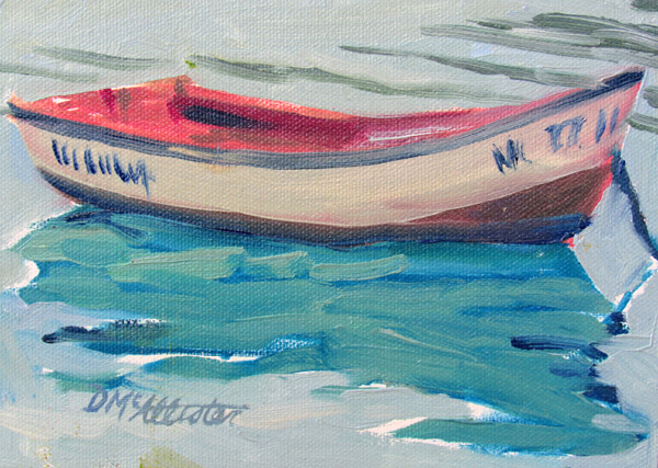 single red rowboat painting in an impressionistic plein air style by Deborah McAllister