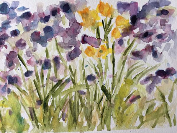 Indigo Flora watercolor by Artist Michele Francoeur