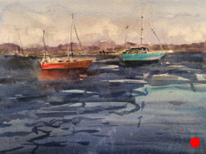 Maine Boats Watercolor by Doug Farrick