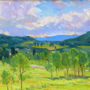 green and blue painterly painting of landscape by artist Judith Reeve