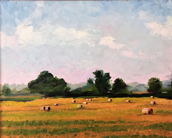 Painted view View of bales of hay by plein air artist Tom Smith