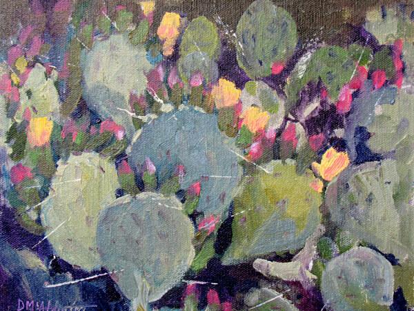 Cactus Prickly Pear Blooms painting by plein air artist Deborah McAllister