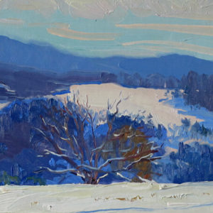 painterly painting of snow valley by artist Judith Reeve